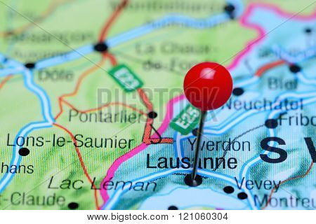 Lausanne pinned on a map of Switzerland