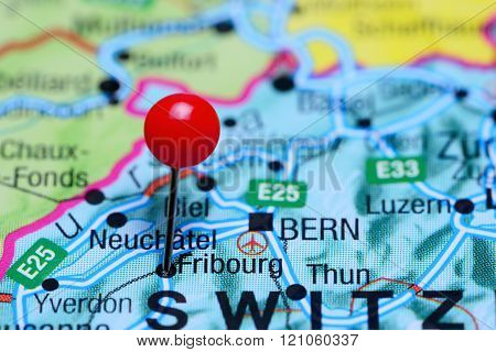 Fribourg pinned on a map of Switzerland