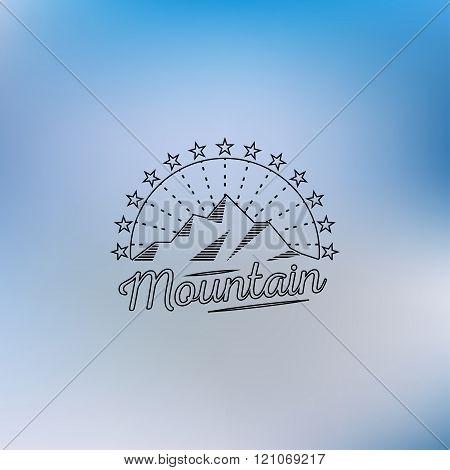 Mountain lineart logo. Mountain hipster logo. Mountain logo. Mountain retro logo. Mountain vintage l