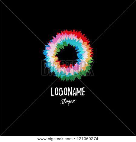 Color wheel, donut, circle. Vibration. Abstract vector logo.