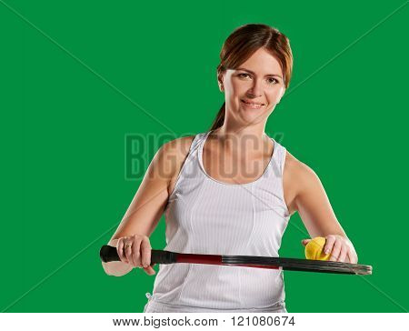 womans portrait with a tennis racket and ball