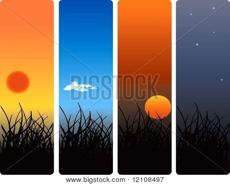 sunrise, noon, sunset and midnight- vector also available
