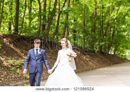 Wedding couple on the  road