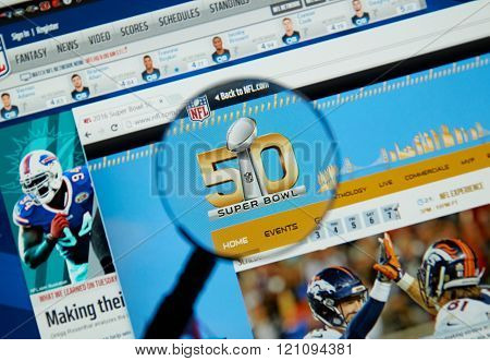 MONTREAL CANADA - FEBRUARY 15 2016 - Super Bowl 50 web page on NFL site. Super Bowl 50 is an American football game to determine the champion of the National Football League for the 2015 season.
