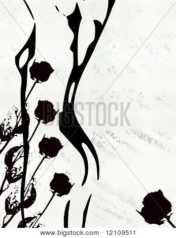 grunge silhouette of nude with roses