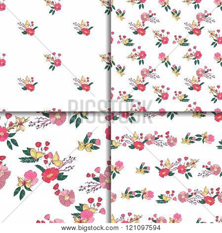 Floral Seamless Vintage Wildflowers Pattern Set