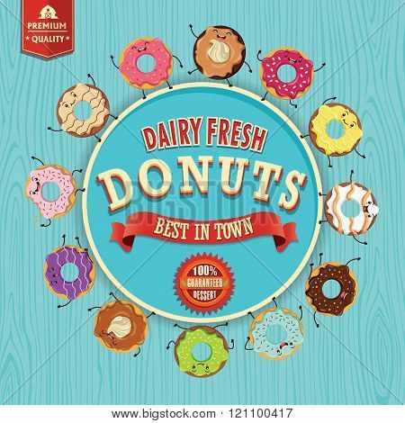 Vintage donuts poster character design set with wooden background