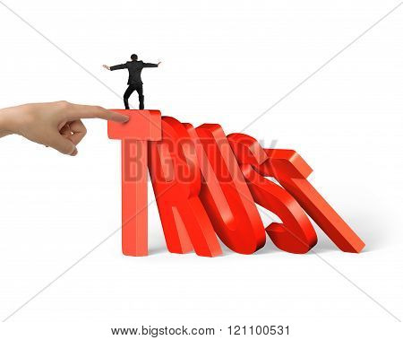 Man Balancing On Trust Domino Falling With Another Hand Helping