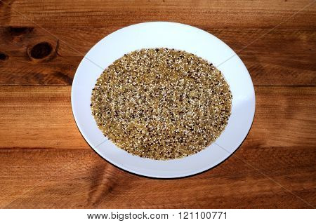 Dried red and white Quinoa seeds.