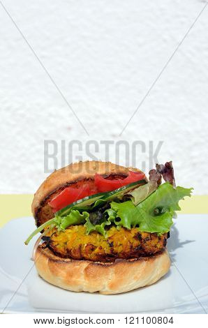 Vegetarian chickpea burger.