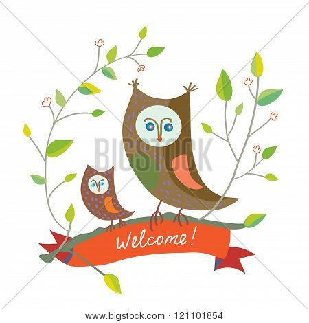 Funny Welcome Card With Owl - Cute Design