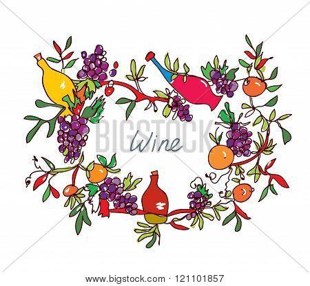 Frame For Wine With Leaves And Bottles - Ornamental Illustration