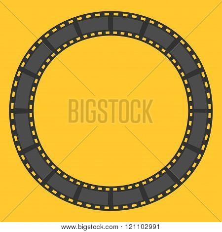 Film Strip Round Circle Frame. Template. Design Element. Yellow Background. Flat Design.