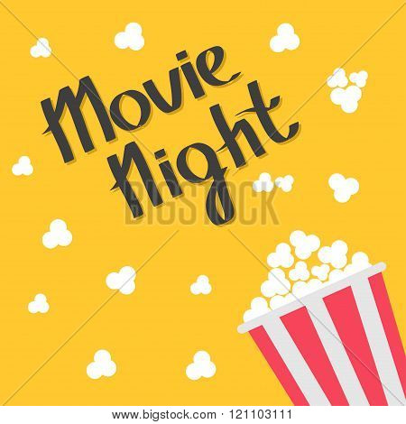 Popcorn Bag. Cinema Icon In Flat Design Style. Right Side. Movie Night Text. Lettering.