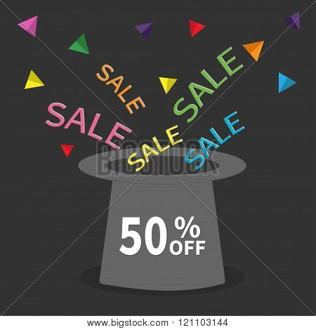 Magic Hat.  50 Percent Off. Sale Background. Big Sale. Supersale Tag. Special Offer. Triangle Decor.