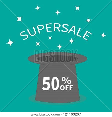 Magic Hat.  Supersale Tag. Sale Background. Big Sale. Special Offer. 50 Percent Off. White Sparkle S