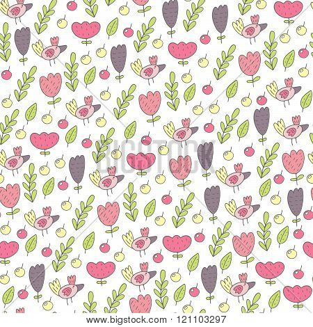 Cute hand drawn doodle seamless pattern with flowers