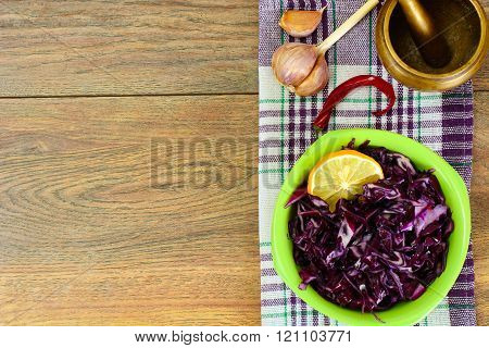 Salad of Red Cabbage with Vegetable Oil. Diet Food