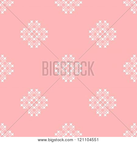 Seamless Pink Texture With Abstract Embroidered Ornaments