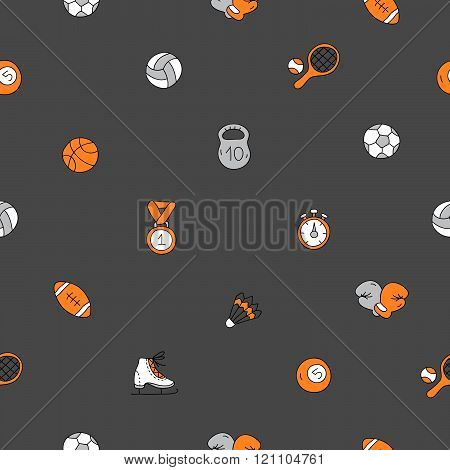 Seamless Vector Pattern Of Sports Icons