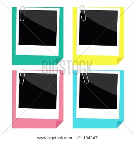 Instant Photo, Paperclip And Paper With Folded Corner Set. Templ