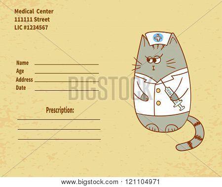 Cute cartoon nurse cat with injector.