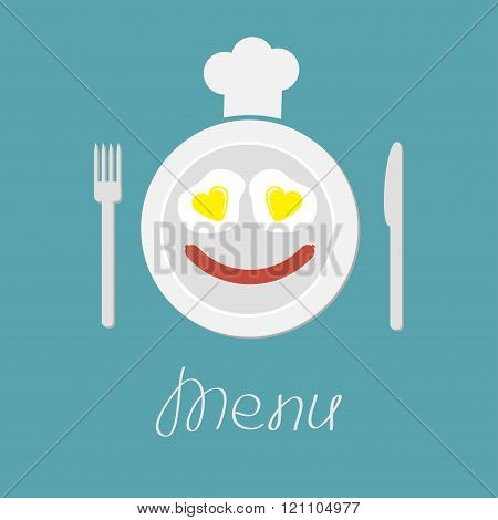 Plate With Eggs Heart And Sausage Fork Knife And Chef Hat Menu Card