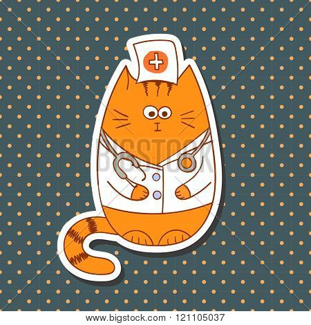 Cute carton doctor cat on dots background.