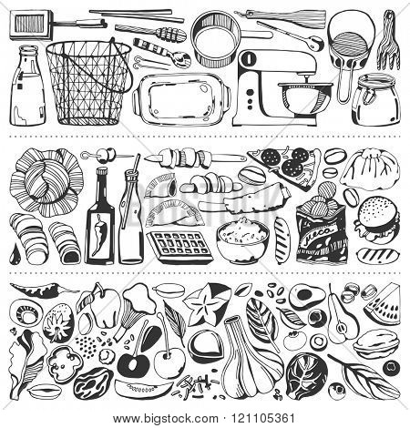 Food flyer set - kitchen tools, vegetables, food