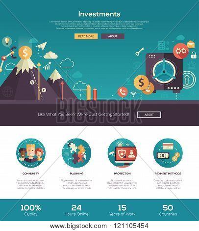 Flat design investments website header banner with webdesign elements