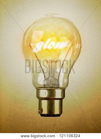 Lightbulb with the word glow