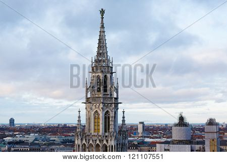 Tower Of City Hall In Munich