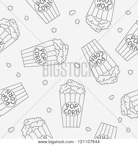 Seamless Vector Pattern Of Buckets Of Popcorn