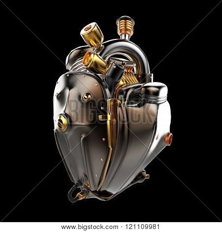 Diesel punk robot techno heart. engine with pipes, radiators and glossy dark bronze metal hood parts