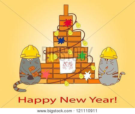 Happy New Year background. Card template. Congratulation for a contraction company