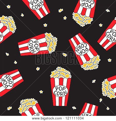 Seamless Vector Pattern Of Colored Buckets Popcorn