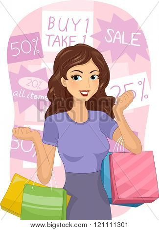 Illustration of a Girl Carrying Shopping Bags Surrounded by Discount Tags