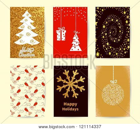 Set of Christmas card templates. Holiday backgrounds