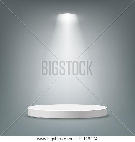 Illuminated round pedestal.