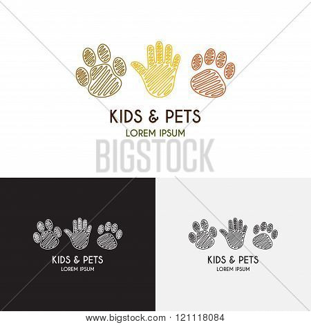 Kids And Pets Logo Template