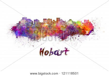 Hobart Skyline In Watercolor