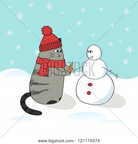 Cute cartoon cat and snowman, winter background