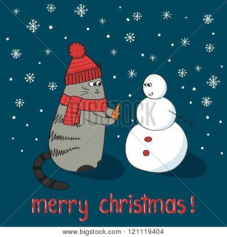 Merry Christmas card template. Cute cartoon cat and snowman