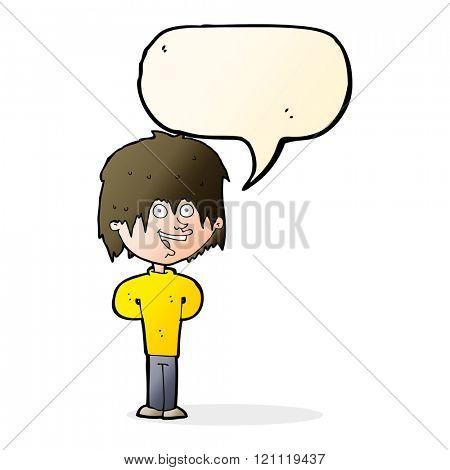 cartoon happy scruffy boy with speech bubble