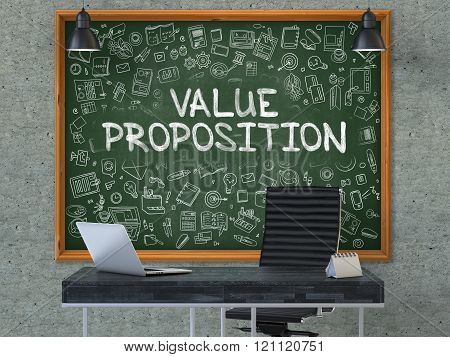 Value Proposition Concept. Doodle Icons on Chalkboard.
