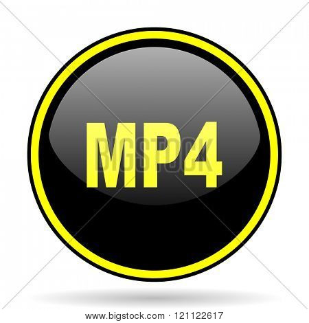 mp4 black and yellow modern glossy web icon