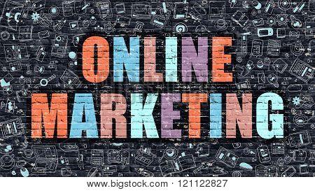 Online Marketing Concept. Multicolor on Dark Brickwall.