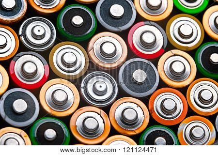 Energy abstract background of colorful batteries