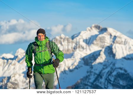 Mountaineer With Winter Setting.