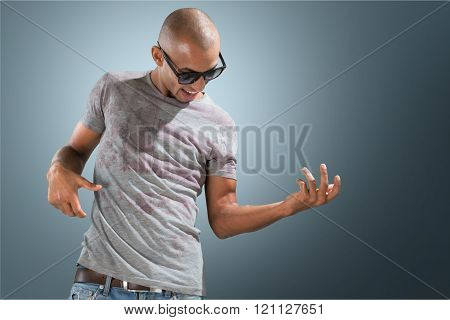 Awesome crazy fashion young man like rock guitar player isolated on background